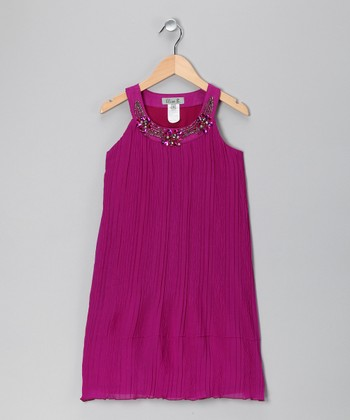 Purple Chiffon Rhinestone Yoke Dress