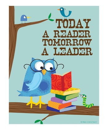 Blue 'Today a Reader, Tomorrow a Leader' Print