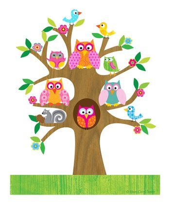 Pink Owls in a Tree Print