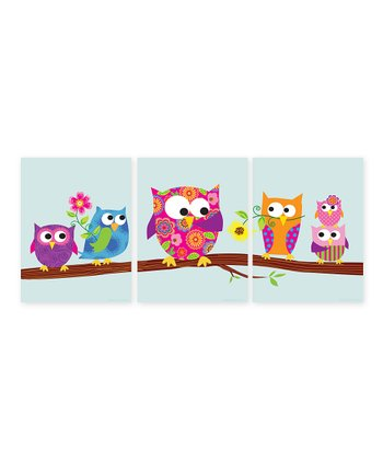 Pink Owls on a Branch Print Set