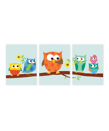 Orange Owls on a Branch Print Set