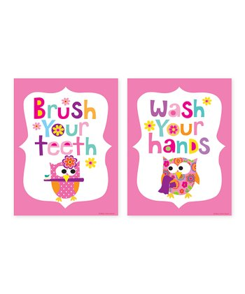 Pink 'Brush Your Teeth' & 'Wash Your Hands' Print Set