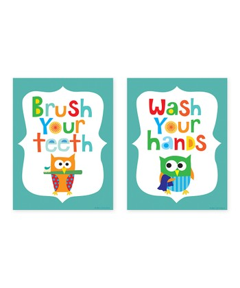 Blue 'Brush Your Teeth' & 'Wash Your Hands' Print Set