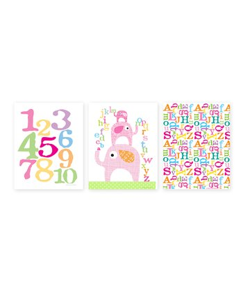 Pink ABC Elephant Print Set