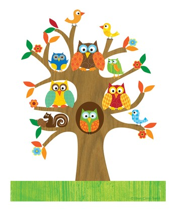 Green Owls in a Tree Print