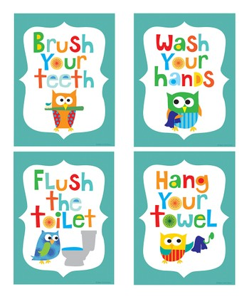 Teal Owl Bathroom Print Set