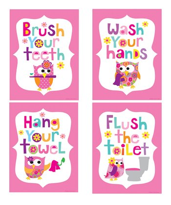 Pink Owl Bathroom Print Set