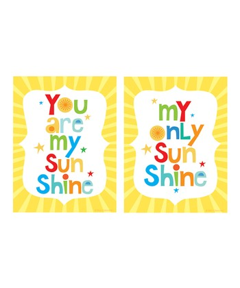 Yellow 'You Are My Sunshine' Print Set