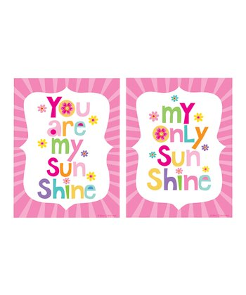 Pink 'You Are My Sunshine' Print Set