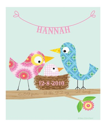Baby Bird Pink Personalized Print