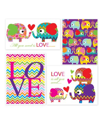 Elephant 'Love' Print Set