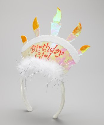 White 'Birthday Girl' Cake Headband
