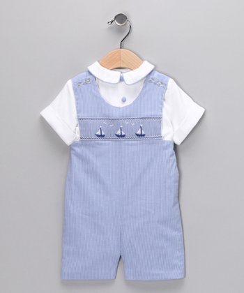 Blue Sailboat Smocked John Johns - Infant