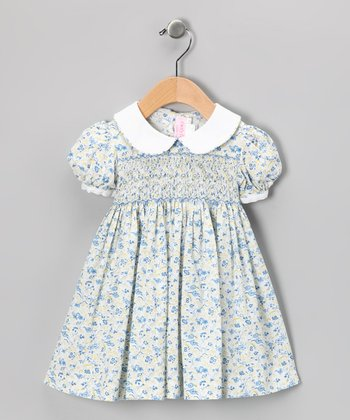 Emily Lacey Blue Bud Smocked Dress - Infant, Toddler & Girls