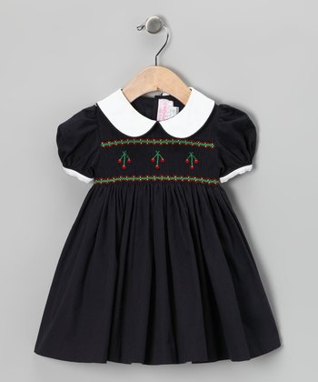 Navy Cherry Smocked Dress - Infant & Girls