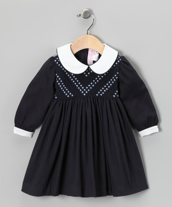 Navy Diamond Smocked Dress - Infant, Toddler & Girls