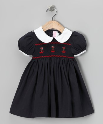 Navy Topiary Smocked Dress - Infant, Toddler & Girls