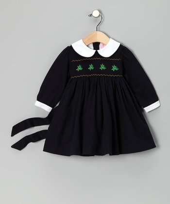 Navy Christmas Tree Smocked Dress - Infant, Toddler & Girls