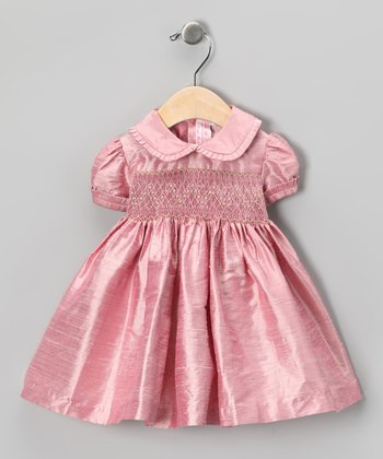 Pink Floral Smocked Silk Dress - Infant, Toddler & Girls