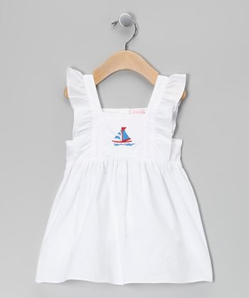 Emily Lacey White Sailboat Pinafore Dress - Infant & Girls