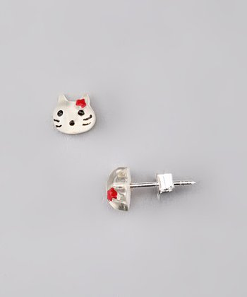 White Cat Earrings