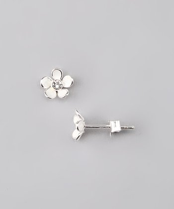 White Flower Gem Earrings