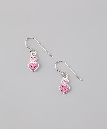 Pink Pavé Double Heart Earrings