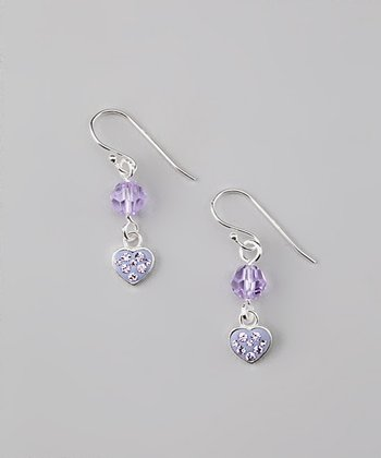 Sterling Silver Purple Crystal Heart Earrings