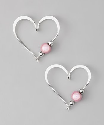 Sterling Silver & Pink Heart Hoop Earrings