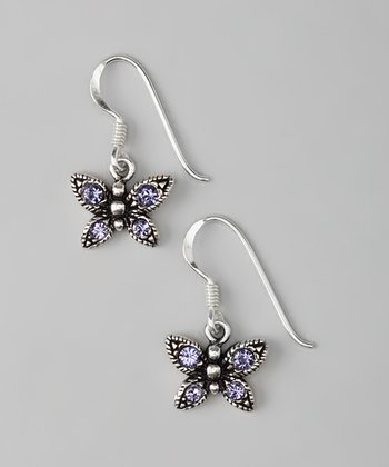 Sterling Silver Purple Butterfly Earrings