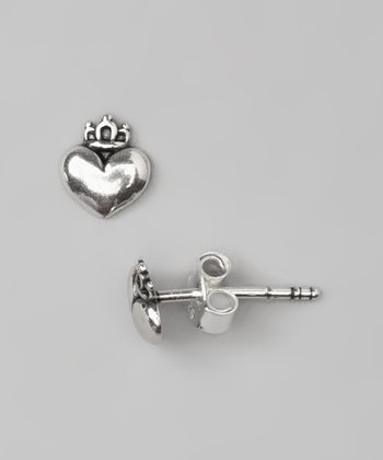 Sterling Silver Royal Heart Earrings