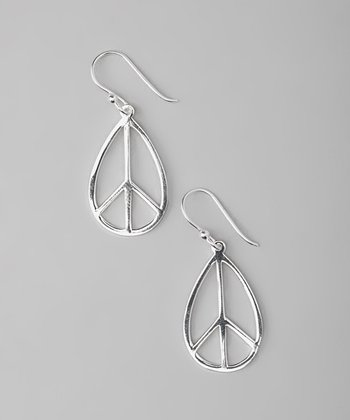 Sterling Silver Peace Teardrop Earrings