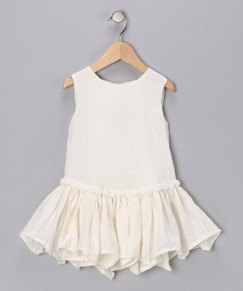 Cream Flower Linen Dress - Infant & Toddler