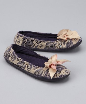 Purple Lace Sequin Ballet Slipper