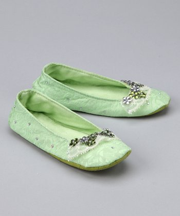 Lime Floral Studded Ballet Slipper