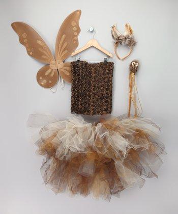 Gold & Brown Owl Fairy Tutu Set - Toddler & Girls