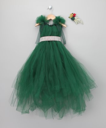 Green Christmas Dress Set - Toddler & Girls