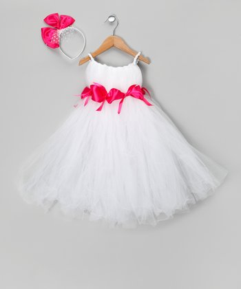 White Miss Kitty Dress & Headband - Toddler