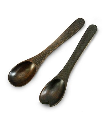 Enrico Chocolate Honeycomb Mango Wood Salad Server Set