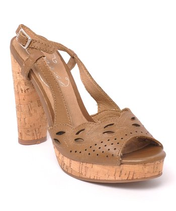 Brown Banked Leather Peep-Toe Slingback
