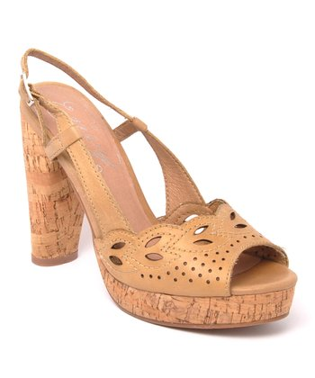 Natural Banked Leather Peep-Toe Slingback