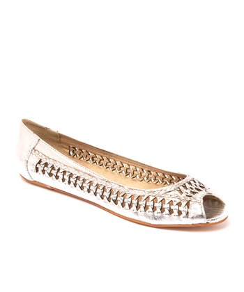 Silver Leather Chatter Box Flat