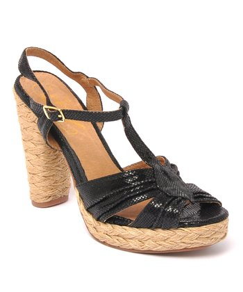 Black Leather Funify Sandal