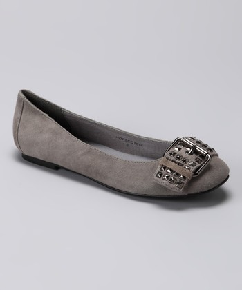 Light Gray Suede Hopscotch Ballet Flat