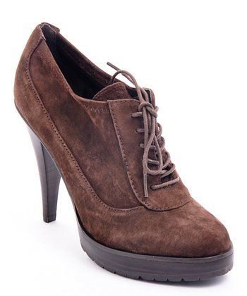 Brown Suede Mary Bootie