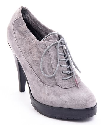 Gray Suede Mary Bootie
