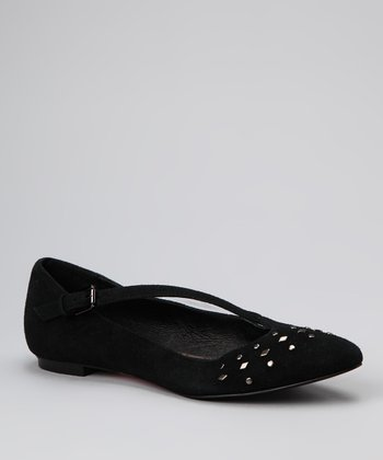 Black Suede Peak Flat