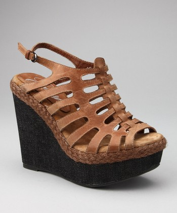 Brown Rollin Wedge Sandal