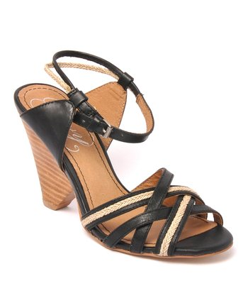 Black Leather Silange Sandal