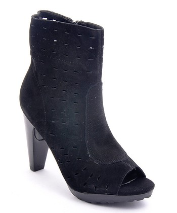Black Throttle Leather Peep-Toe Boot